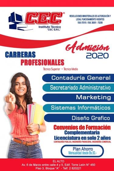 Formacion Tecnica Profesional Institutos Tecnicos Tecnologicos Instituto Tecnico Cec S R L La Paz El Alto